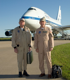Bill Brockett, right, shown with retired NASA astronaut and research pilot Gordon Fullerton