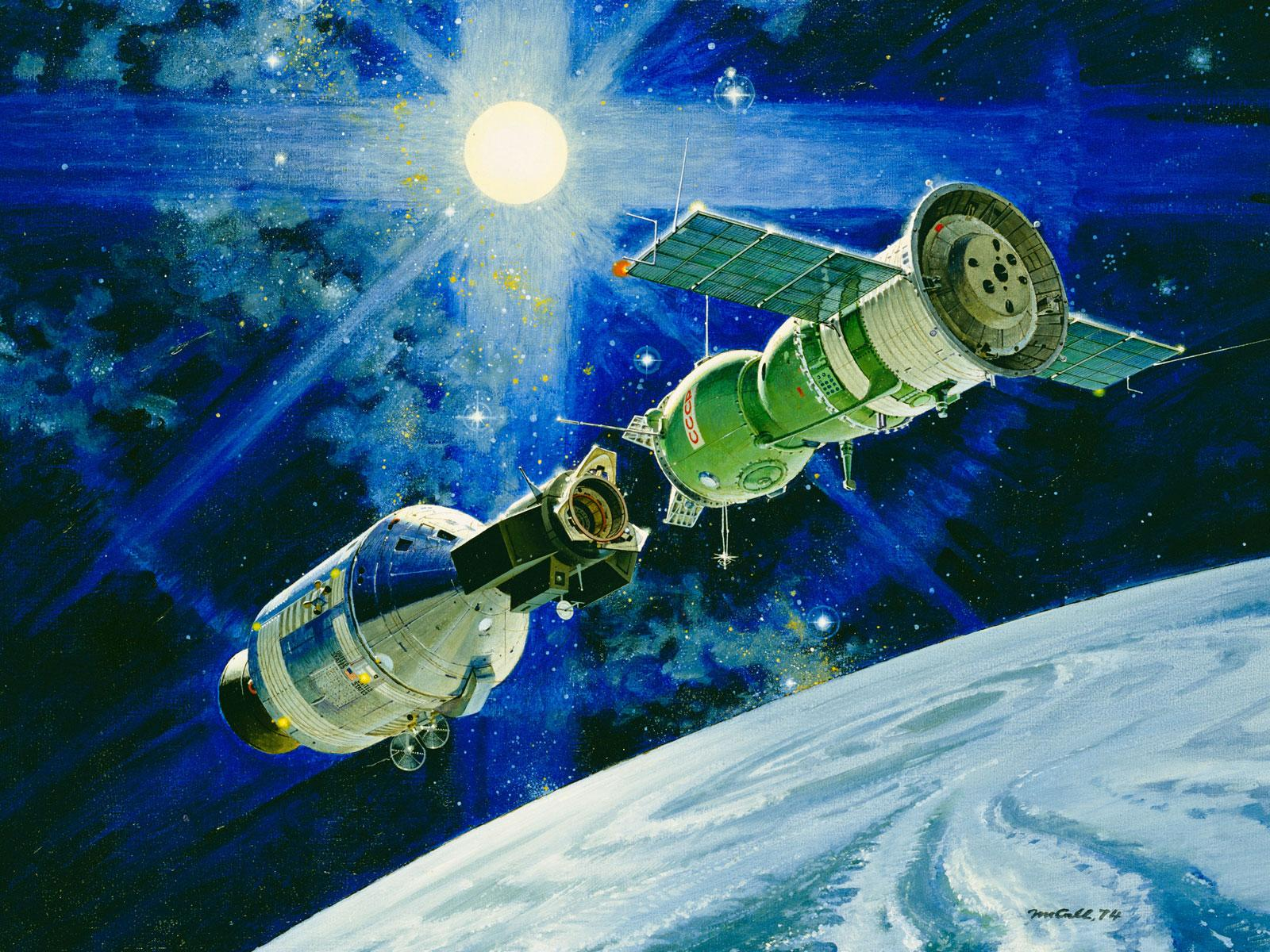 the historic docking of the apollo and soyuz capsule in space It was july 17th, 1975, and they were about to make history  the apollo-soyuz  test project would become the first major collaborative  rendezvous and  docking of manned spacecraft and space stations of the usa and the.