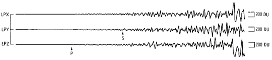 Seismogram of the Apollo13 S-IVB impact recorded at the Apollo 12 seismic station