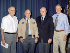 Four of the five surviving X-15 pilots gathered at NASA's Dryden Flight Research Center in August 2005 when astronaut wings were presented to the three NASA pilots who flew the X-15 rocket plane into space in the 1960s