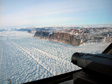 Petermann glacier in northern Greenland where it feeds into the Arctic ice pack.
