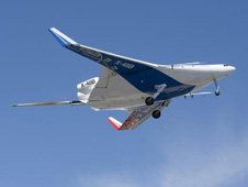 X-48B in flight during phase 1 of test flights.