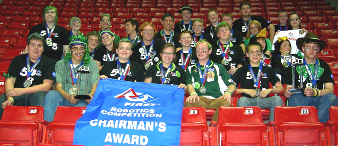 Students and mentors of Tehachapi High School's Robotics Team celebrate winning the Chairman's Award at Las Vegas regionals.