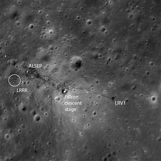 The Apollo 15 Lunar Laser Ranging RetroReflector (LRRR) array site on the moon