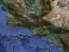 The initial flight path of NASA's Global Hawk on its first data-collection flight in the Global Hawk Pacific (GloPac) environmental science mission April 7, 2010 is marked in red overlaid on a Google Earth image of the Southern California coast.