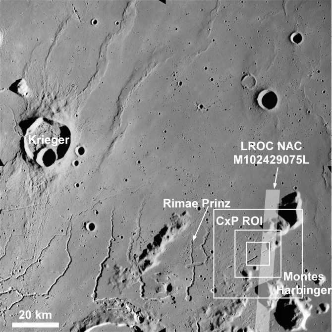 Context map showing the Rimae Prinz region of the Moon