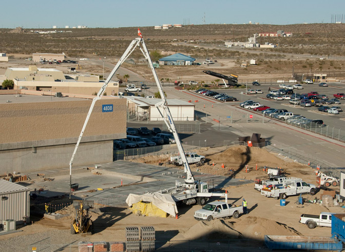 Concrete pump during construction of Dryden's new Consolidated Information Technology Center.