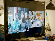 A dozen Indonesian students gathered at the U.S. Embassy in Jakarta to collaborate with American students from California via a distance learning video link.