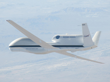 The Global Hawk is pictured over the high desert.