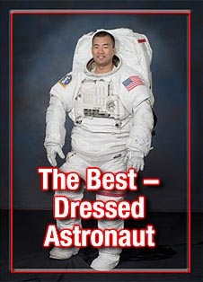 An astronaut wearing a white spacesuit, and the words The Best Dressed Astronaut