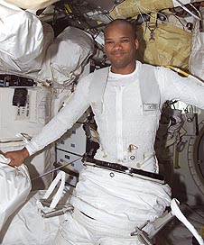 Astronaut Robert L. Curbeam dressed in a liquid-cooled undergarment