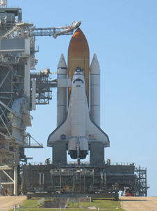 Space shuttle Atlantis rests atop Pad 39A at Kennedy Space Center less than 24 hours prior to launch of mission STS-132.