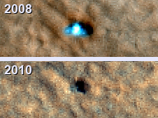 2008 and 2010 overhead images of the Phoenix lander