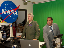 Maj. Gen. David Eichhorn, commander of the Air Force Flight Test Center at Edwards Air Force Base, gets in front of the camera during a demonstration of NASA Dryden's interactive Digital Learning Network studio by DLN coordinator David Alexander.