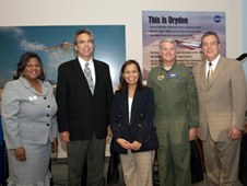 Katrina Emery, David McBride, Gwen Young, Maj. Gen. David Eichhorn and Jim Ledford visit the Exploration Gallery.