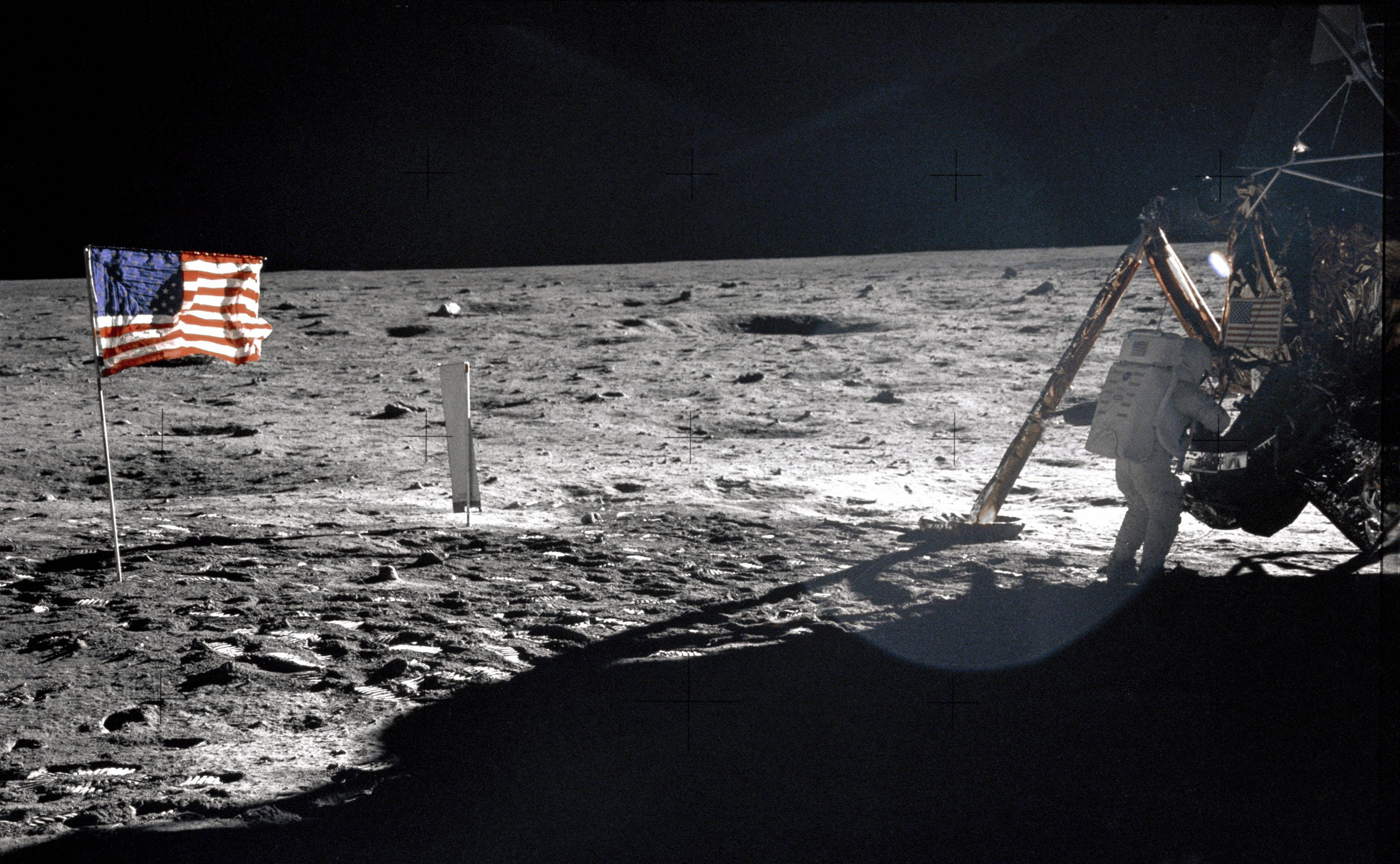 Apollo 11 astronauts trained on Earth to take individual photographs in succession in order to create a series of frames that could be assembled into panoramic images. This frame from Aldrin's panorama of the Apollo 11 landing site is the only good picture of mission commander Neil Armstrong on the lunar surface.