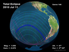 A global map of the path of the July 11th total eclipse.