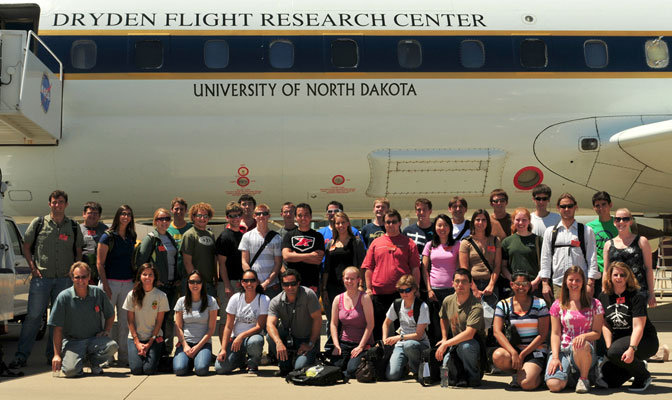 Students and several instructors participating in the 2010 SARP program gathered for a group photo with NASA's DC-8 flying science laboratory prior to their flights.
