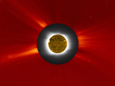 Composite image of the July 11, 2010 solar eclipse featuring the eclipse image, a SOHO/LASCO coronagraph image and a SDO/AIA 193 image.