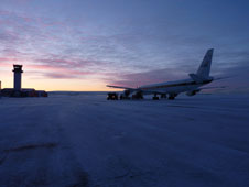 Crews prepare the DC-8 at Thule Air Base, Greenland, for an eight-hour Operation IceBridge mission to measure Arctic sea ice.