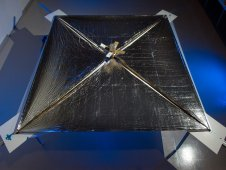 Blue tinted image of a solar sail