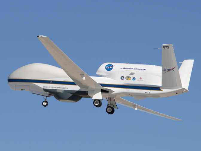 NASA's Global Hawk soars aloft from Edwards Air Force Base, Calif., Aug. 15 on a functional check flight of the aircraft payload system and science instruments for the Genesis and Rapid Intensification Processes, or GRIP, mission