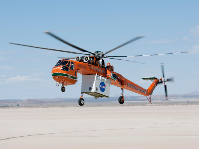 An S-64 heavy-lift helicopter operated by Erickson Air-Crane carried the ALHAT lidar equipment during recent flight tests at NASA's Dryden Flight Research Center.