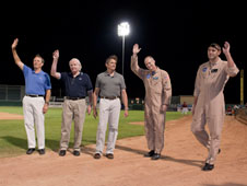 Robert L. Hoot Gibson, Vance Brand, Mark Stuckey, Troy Asher and Davis Hackenberg are recognized at the JetHawks game Aug. 14.