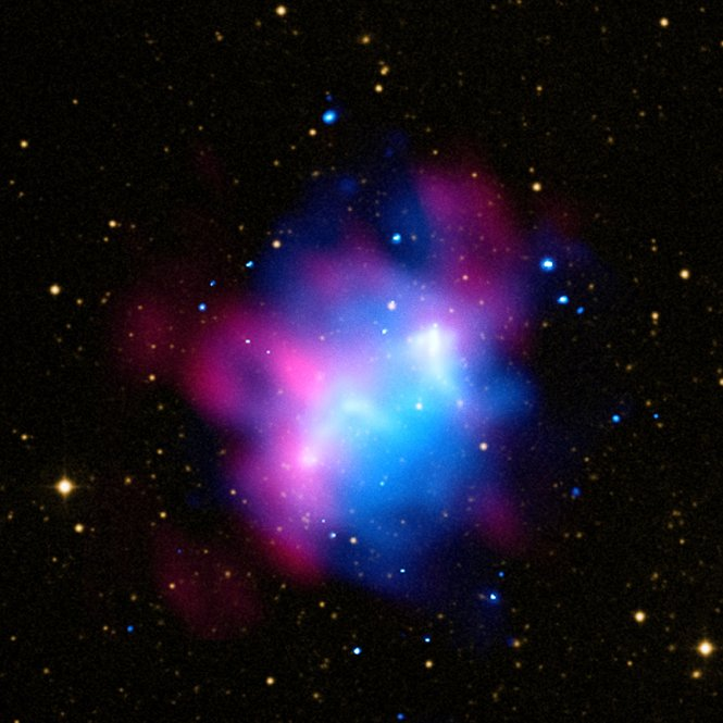 Composite image of the northern part of the galaxy cluster Abell 1758