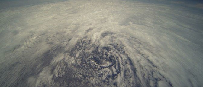 The swirling circulation pattern of tropical storm Frank off the southwestern coast of Baja California was captured by Ames Research Center's HDVis camera mounted on the aft fuselage of NASA's Global Hawk unmanned research aircraft Aug. 28