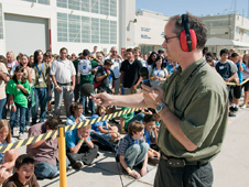 Middle-school students gathered on the ramp at NASA Dryden had a chance to make all the noise they wanted during a