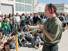 Dryden's Ed Haering has students yell to compare those noise levels with a sonic boom from an aircraft piercing the sound barrier later in the day.