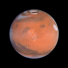 Hubble image of Mars showing clouds