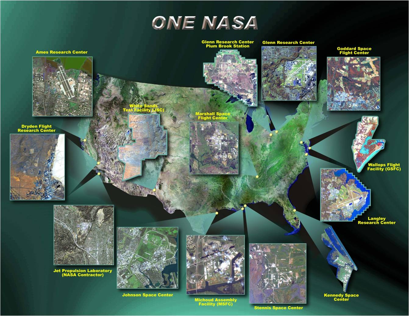 Picture of a map of the United States with all of the NASA center locations highlighted.