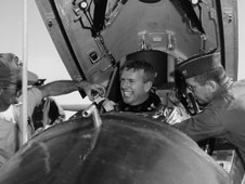 Walker's broad smile was more than evident after he landed the X-15 rocket plane following an early flight in 1960.