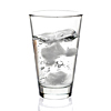 A clear glass of ice water
