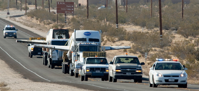 X-34 aircraft convoyed from Dryden to Edwards Air Force Base