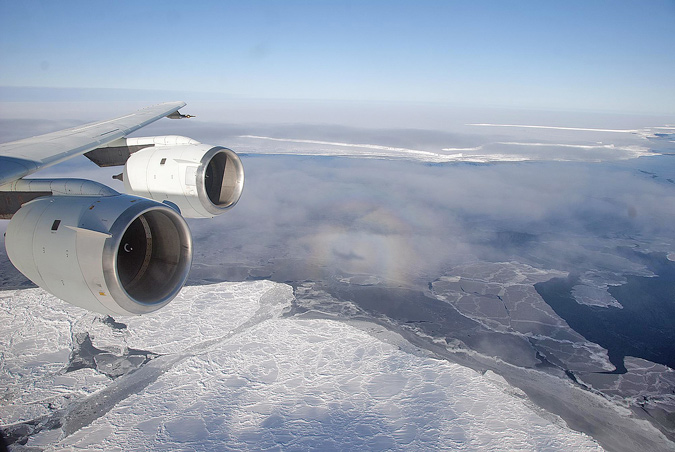 IceBridge mission by the DC-8 flying laboratory over the Antarctic Peninsula