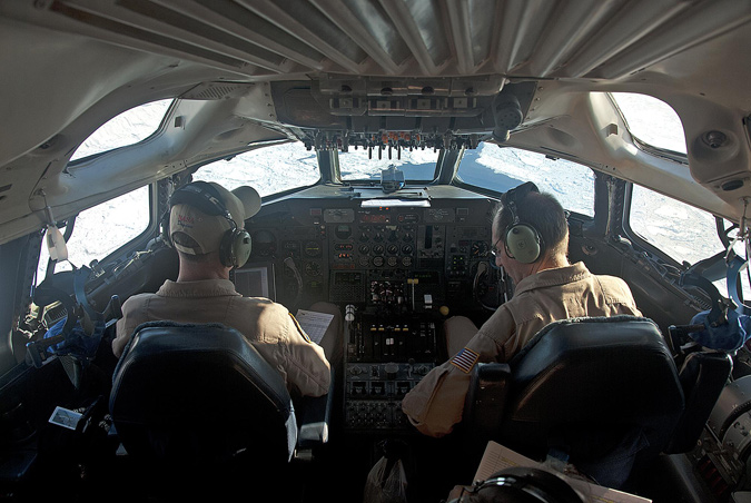Pilots in DC-8 cockpit