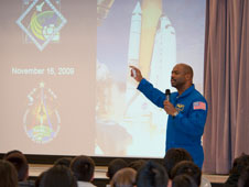 Former NASA astronaut and current NASA Education chief Leland Melvin outlines highlights of his second space shuttle mission, STS-129, in November 2009 before an appreciative group of students during a visit to Shadow Hills Intermediate School in Palmdale Dec. 8.