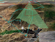 This 3-D illustration shows the real-time, mid-mission flight track of NASA's Ikhana remotely piloted aircraft over Southern Californias Lake Isabella