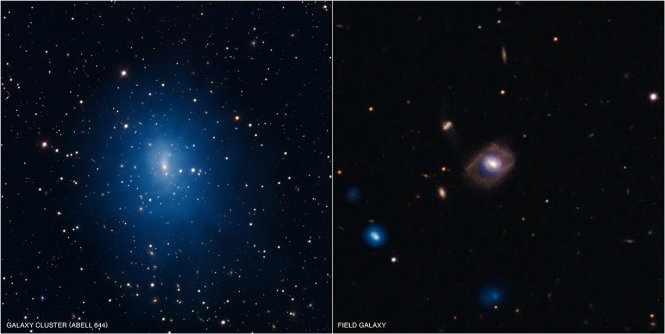Composite images of galaxies Abell 644, left, and galaxy SDSS J1021+131