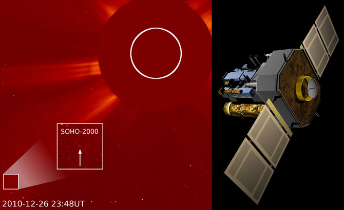 Image Left: SOHO's 2000th comet, spotted by a Polish amateur astronomer on December 26, 2010. Image Right: The SOHO spacecraft.