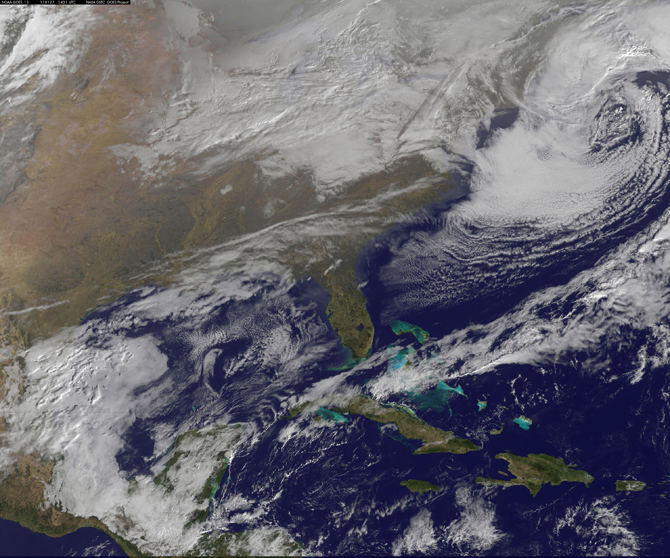 GOES satellite image of Jan. 27 snowstorm