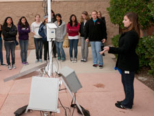 NASA Dryden meteorologist Franzeska Houtas demonstrated some of the equipment used for aviation weather monitoring and forecasting.
