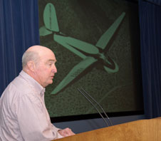 Paul Bikles son John recalls his fathers record altitude flight in detail during the recent historical colloquium at NASA Dryden.