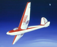 Former NASA Flight Research Center director Paul Bikles record altitude flight in his Schweizer 1-23E sailplane 50 years ago was depicted on canvas by noted aerospace artist Mike Machat.