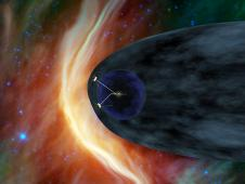 Artist's concept shows NASA's two Voyager spacecraft exploring a turbulent region of space known as the heliosheath