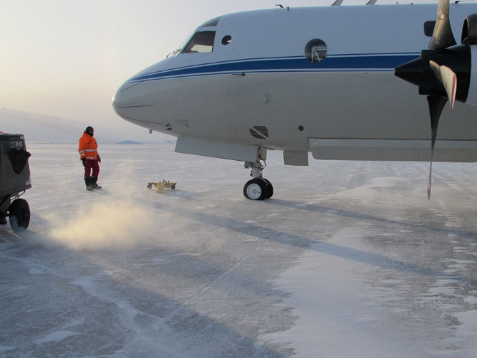 On March 14, the P-3B carried Operation IceBridge scientists and instruments from NASA's Wallops Flight Facility in Wallops Island, Va., to Thule Air Base in Greenland, where the Arctic 2011 campaign will be based.