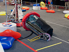 Tehachapi Cyber Penguins' robot takes a tumble during competition.